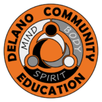 Orange circle with the words Delano Community Education and Mind Body Spirit printed in the design