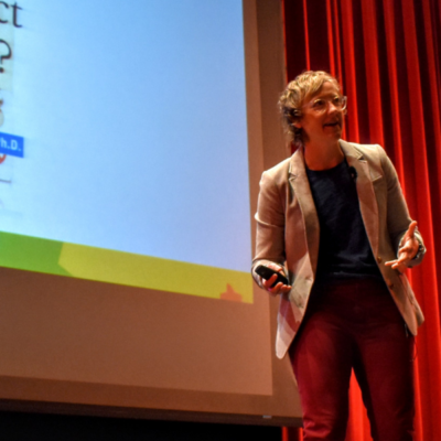 Erin Walsh as a guest speaker at a high school in Minnesota talking about the teenage brain.