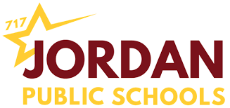 Logo for Jordan Public Schools featuring maroon lettering and a yellow star