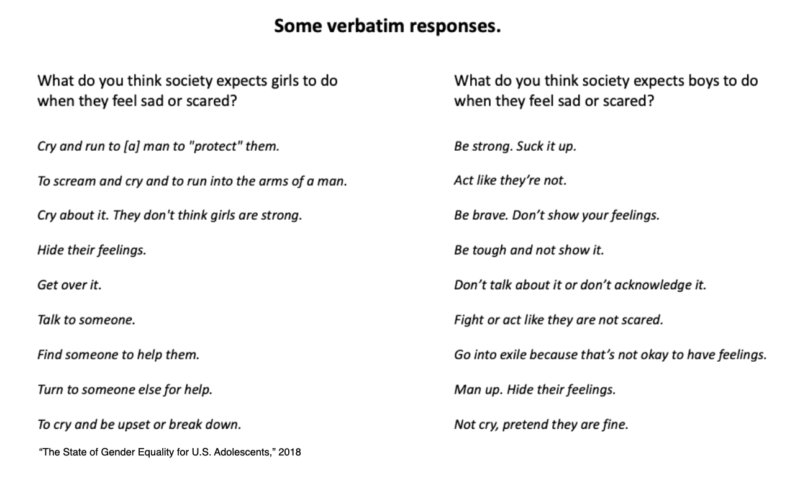 Verbatim responses about gender from a Plan USA survey.