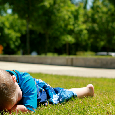Child's behavior means he is collapsing on ground