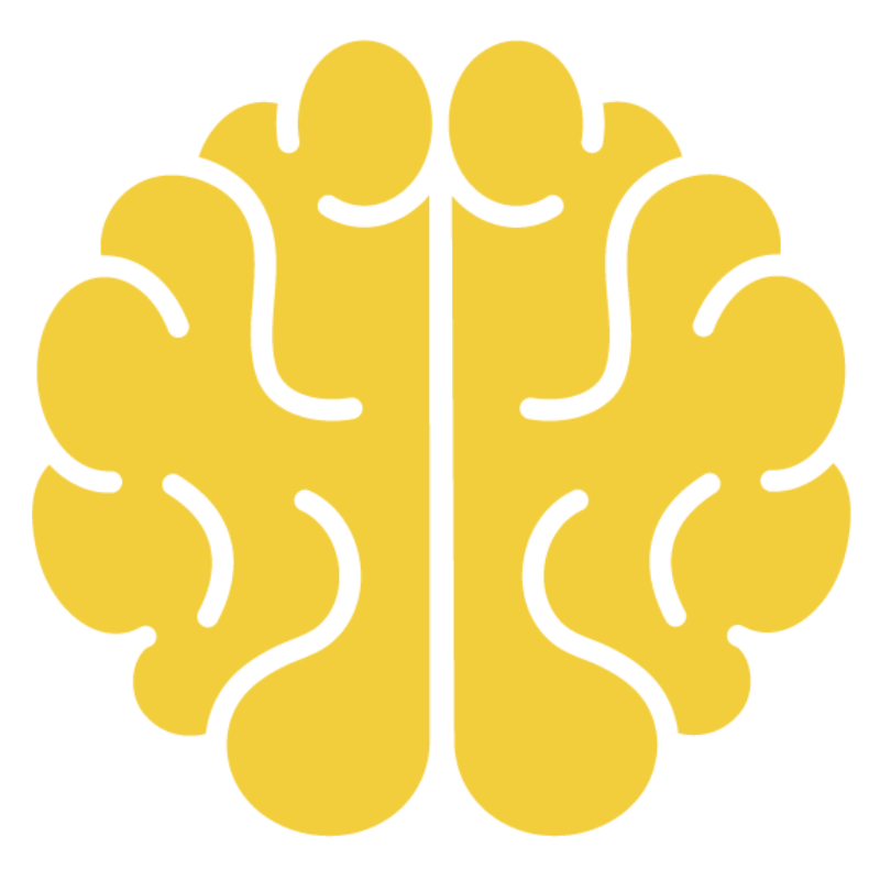 Icon of brain in yellow