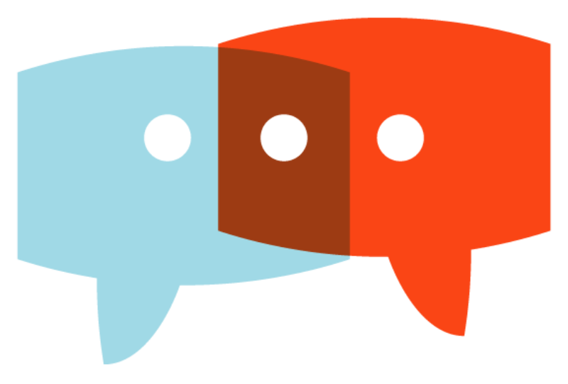 Icon for Spark & Stitch Institute showing two conversation bubbles overlapping.