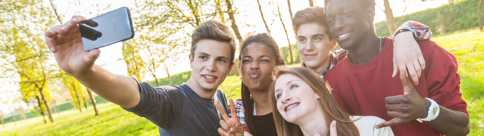 Teenagers in a row taking a selfie as a promotion for online class on teenage brain