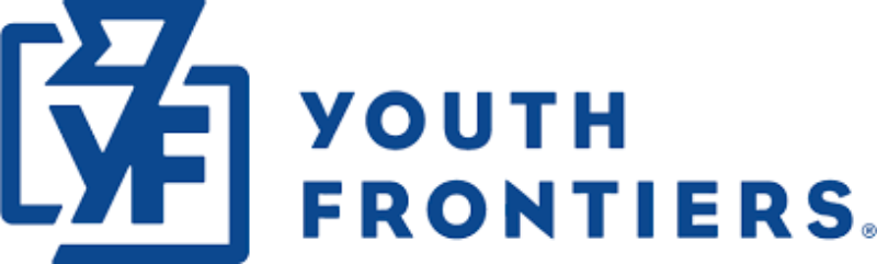 Blue and white logo of Spark & Stitch Institute partner Youth Frontiers